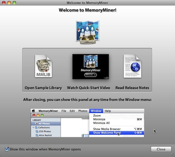 MemoryMiner Welcome Panel
